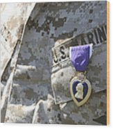 The Purple Heart Award Hangs Wood Print
