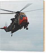 The Sea King Helicopter In Use Wood Print