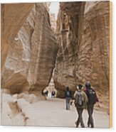 The Slot Canyons Leading Into Petra Wood Print