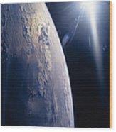 The Sun Shining On Planet Earth Wood Print