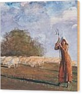 The Young Shepherdess Wood Print