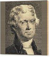 Thomas Jefferson In Sepia Wood Print