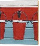 Three Red Buckets Wood Print by John Short