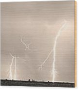 Thunderstorm On The Plains Bw Sepia Wood Print