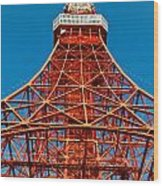 Tokyo Tower Faces Blue Sky Wood Print