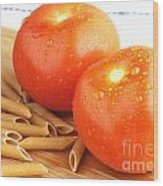 Tomatoes And Pasta Wood Print