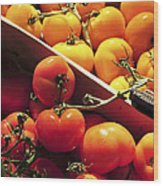 Tomatoes On The Market Wood Print by Elena Elisseeva