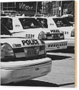 Toronto Police Squad Cars Outside Police Station In Downtown Toronto Ontario Canada Wood Print