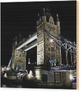 Tower Bridge At Night Wood Print