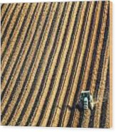 Tractor Plowing A Field Wood Print
