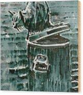 Trashcan Tom Wood Print