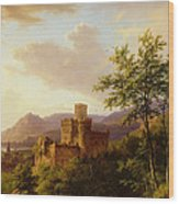 Travellers On A Path In An Extensive Rhineland Landscape Wood Print