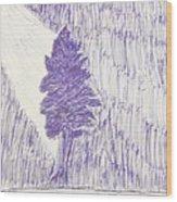Tree In Moonlight Wood Print
