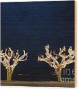 Trees With Lights Wood Print