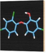 Triclosan Antibiotic Drug Molecule Wood Print by Dr Tim Evans