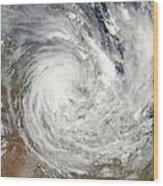 Tropical Cyclone Yasi Over Australia Wood Print