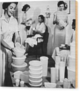 Tupperware Party, 1950s Wood Print