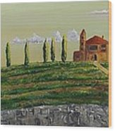 Tuscan Guest House Wood Print