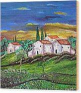 Tuscany Wood Print by Kostas Dendrinos