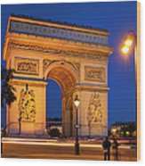 Twilight At Arc De Triomphe Wood Print