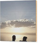 Two Friends Enjoy The Sunset Wood Print