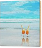 Two Glasses Of Orange Juice Wood Print
