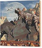 Tyrannosaurus Rex And Triceratops Meet Wood Print