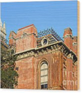 Uc Berkeley . South Hall . Oldest Building At Uc Berkeley . Built 1873 . The Campanile In The Back Wood Print by Wingsdomain Art and Photography