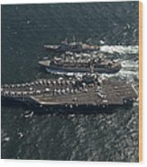 Underway Replenishment At Sea With U.s Wood Print