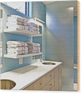 Upscale Bathroom Interior Wood Print