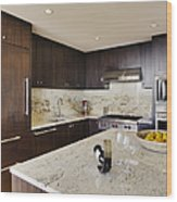 Upscale Kitchen Interior Wood Print by Andersen Ross