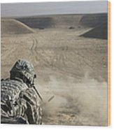 U.s. Army Soldier Fires A Barrett M82a1 Wood Print