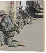 U.s. Army Soldiers Providing Security Wood Print by Stocktrek Images
