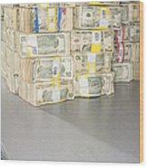 Us Bills In Bundles Wood Print by Adam Crowley