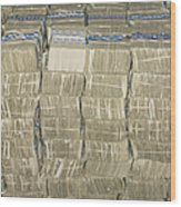 Us Cash Bundles Wood Print by Adam Crowley
