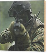 U.s. Marine During Combat Operations Wood Print
