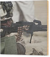 U.s. Marine Firing A Pk 7.62mm Machine Wood Print