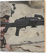 U.s. Marine Prepares To Fire A Pk Wood Print