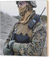 U.s. Marine Provides Security Wood Print