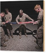 U.s. Marines Fold The American Flag Wood Print