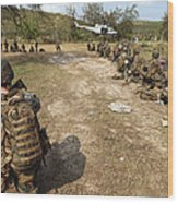 U.s. Marines Provide Security Wood Print