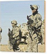 U.s. Soldiers Conduct A Combat Patrol Wood Print