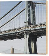 Usa, New York, New York City, Manhattan, Brooklyn Bridge Wood Print