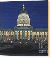 Utah Capitol Building At Twilight Wood Print