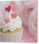 Valentine Cupcake Wood Print by Ruth Black