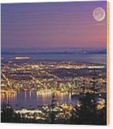 Vancouver At Night, Time-exposure Image Wood Print by David Nunuk