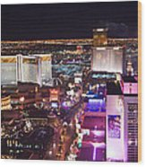 Vegas Strip At Night Wood Print