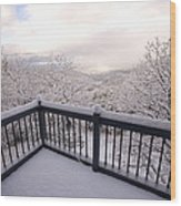 View From A Deck After A Recent Snow Wood Print