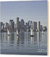 View Of Boston Skyline From Boston Harbor Wood Print
