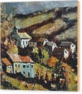 Village In Fall Wood Print